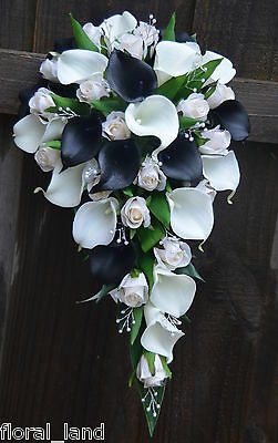 Silk wedding bouquet latex white cream black calla lily ivory teardrop flowers
