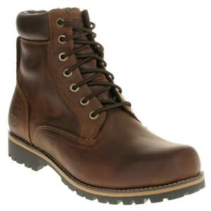 New-Mens-Timberland-Brown-6-Waterproof-Plain-Toe-Leather-Boots-Lace-Up