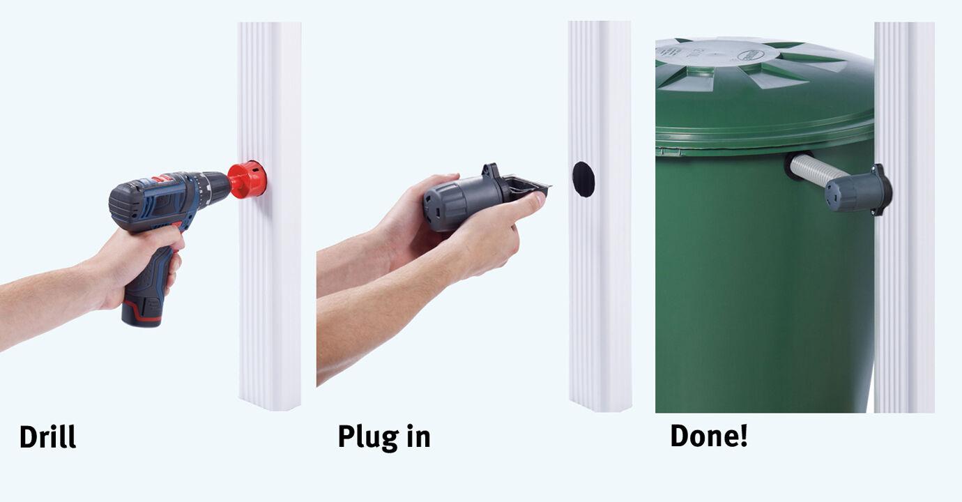 Speedy Downpipe Rainwater Harvesting Water Butt connector rectangular