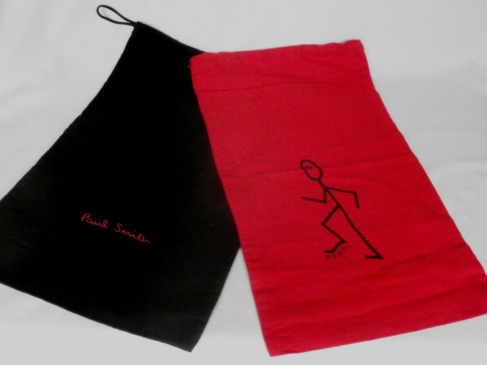 Paul Smith Large Black & Red Cotton Bendi Dustbag Sleeper Shoe Bags 1 Pair