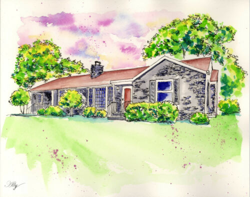 Custom Painting of Your Home Original Watercolor Painting House Portrait Style2