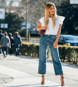 16ddbe5979 ZARA BLUE HIGH-RISE MOM FIT JEANS PEARLS SS17 SIZE EUR 34 UK 6 NEW ...