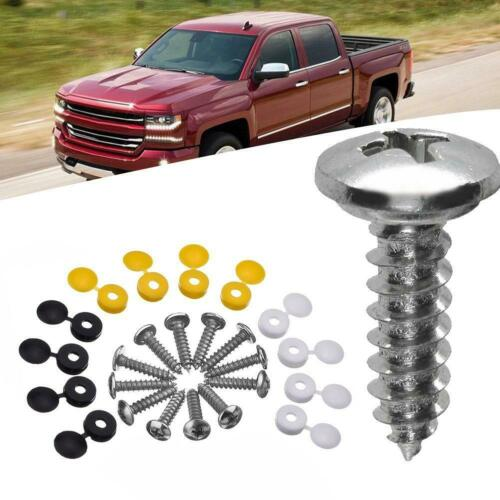 NUMBER PLATE SELF TAPPING SCREWS AND CAPS FITTING FIXING KIT CAR Yellow//Black