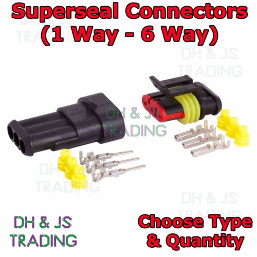 Superseal Connectors 1 2 3 4 5 6 Way Waterproof Kit Electrical Car Boat 12//24v