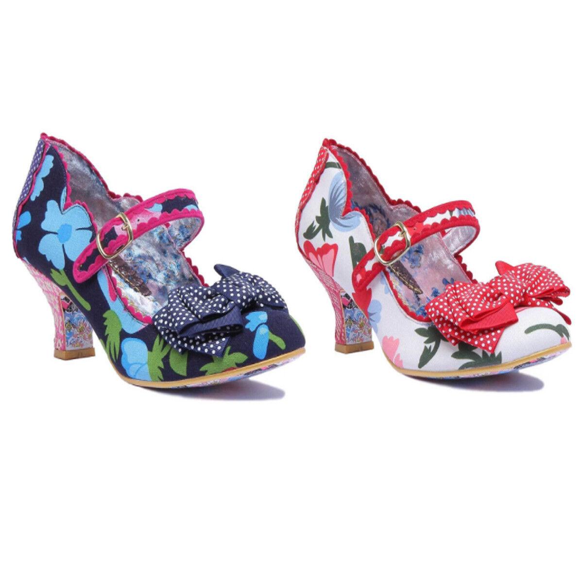 Irregular Choice Balmy Nights Damens Mary Jane Buckle High Heel with Bow Größe UK