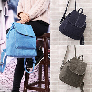 US Women Men Canvas Shoulder School Bag Backpack Travel Satchel Rucksack Handbag