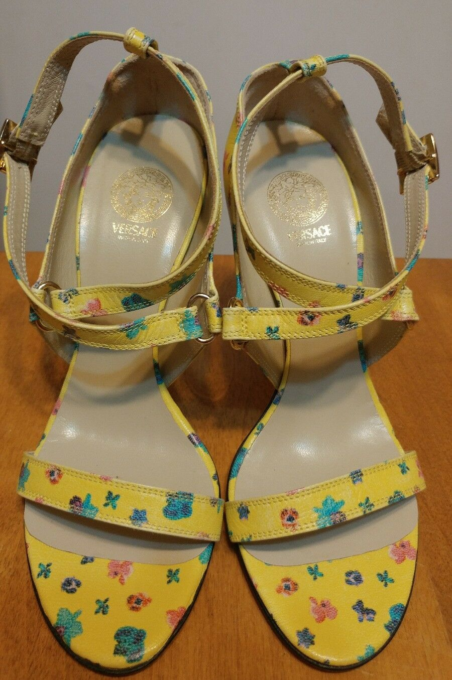 VERSACE Yellow Floral Strappy Sandals, Lucite Heel NEW 37  685