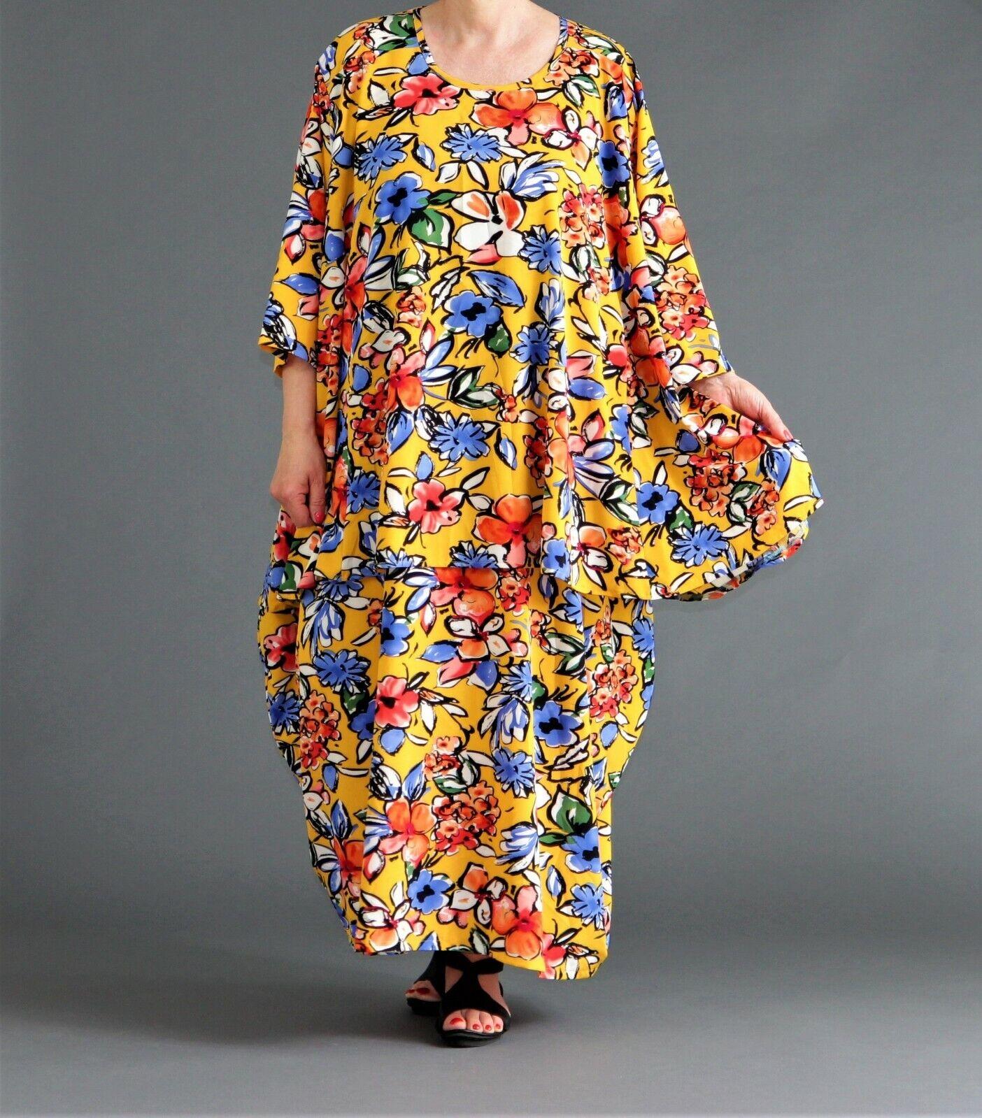♦ AKH Fashion Big T-shirt Größe 46,48,50,52,54,56,58,60,62,64, Gelb-multiFarbees fls ♦