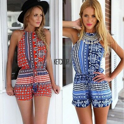 New Women Ladies Clubwear Halter Playsuit Bodycon Party Jumpsuit Romper Trouser