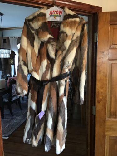 Vintage Rabbit Real Fur Multi Color Coat Medium  S