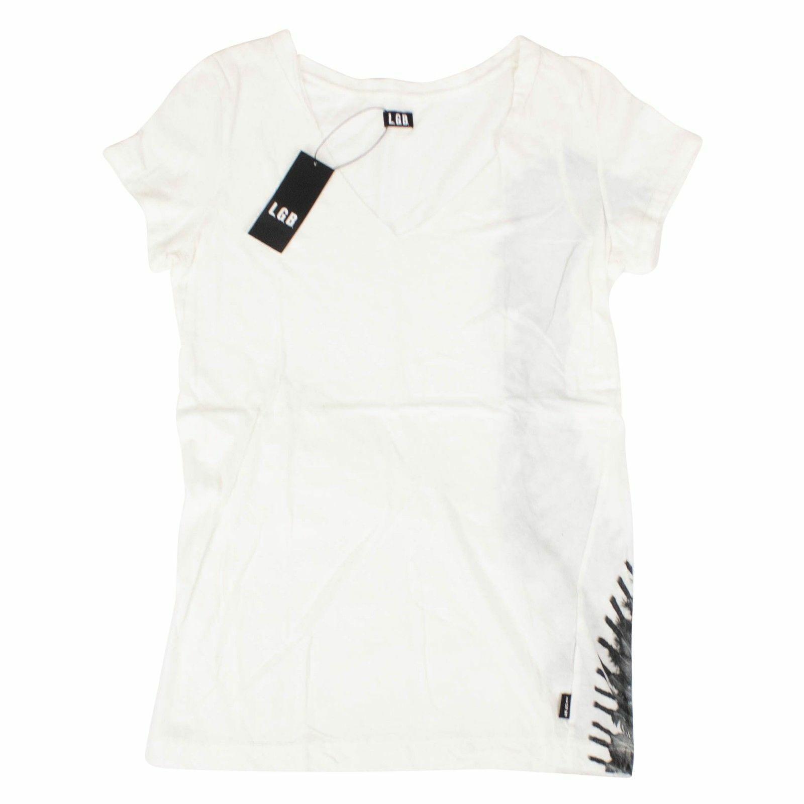 NWT L.G.B. Weiß 'Head Dress' Short Sleeve T-hemd Größe 1 XS  215