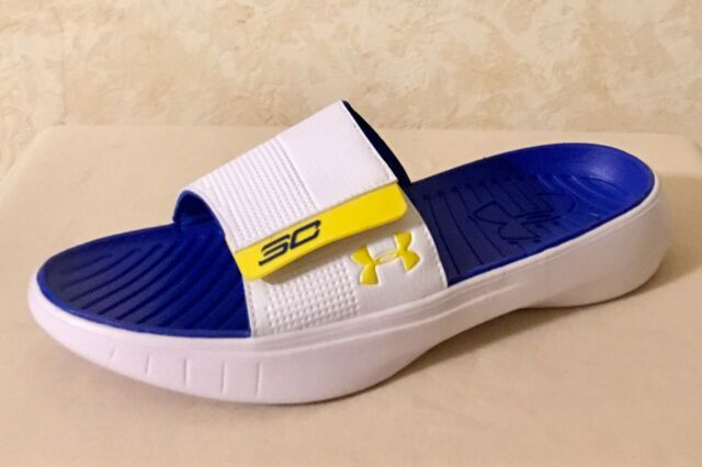 517eb9b1bb81 Men Under Armour SC Curry III Slides Sandals Steph Curry White Blue 1287207  104
