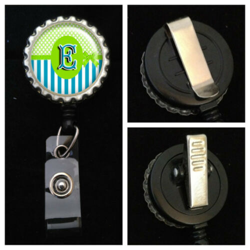 Green Ribbon Monogrammed Retractable ID Badge Reel