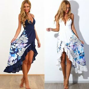 4d8961a1757 Image is loading Summer-Women-Boho-Floral-Long-Maxi-Evening-Cocktail-