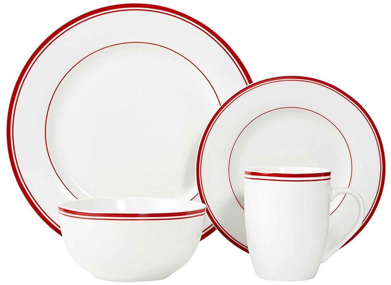 Set da cena 16pcs Piastre Ciotole tazze stoviglie stoviglie servizio sala da pranzo per 4 Rosso