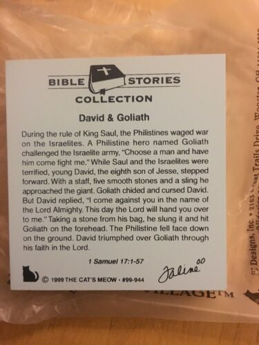 Bible Stories Series 99-944 Cat/'s Meow Wood Collectible David And Goliath
