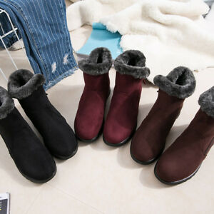 Women-Fashion-Ankle-Boots-Flats-Casual-Shoes-Warm-Suede-Fur-Shoes-Comfortable-AT