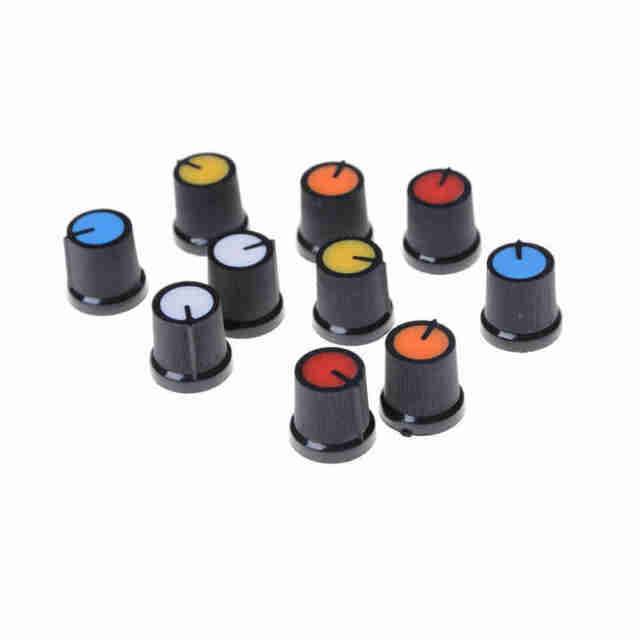 10Pcs Five Colour Face Plastic for Rotary Taper Potentiometer Hole 6mm Knob HG