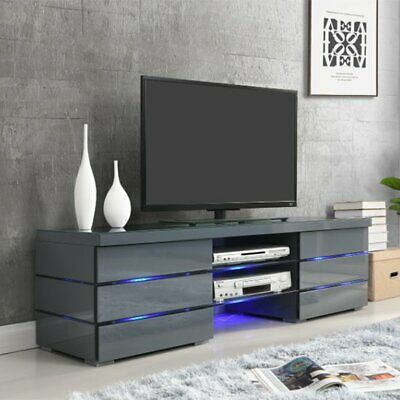Svenja Media Tv Stand In High Gloss Grey With Blue Led Lights Ebay