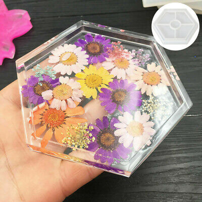 8 Silicone Mold Coaster Jewelry Making Tool Resin Casting Dried Flower Molds