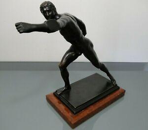 Bronzefigur-Borghesischer-Fechter-Gladenbeck-Berlin-um-1900-Akt-Hoehe-ca-32-5cm