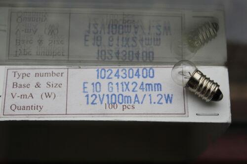 Pack 10 x MES E10 1.2w 12v 100mA 0.1A globe bulbs D11mm L24mm type 102430400
