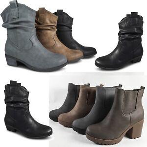 Details zu Damen Stiefeletten Cowboy Schlupfstiefel Boots Chelsea Stiefel Blockabsatz ST54