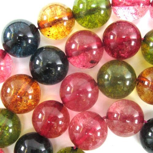 "Watermelon Tourmaline Quartz Round Beads 15/"" Strand 6mm 8mm 10mm 12mm"