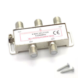 4-Way-Coaxial-Splitter-1-Male-IN-Coax-to-4-Female-OUT-TV-Aerial-Virgin-Sky-Boxes