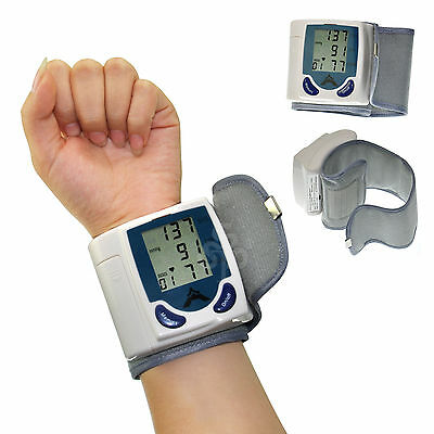 Digital LCD Wrist Blood Pressure Monitor w Heart Beat Rate Pulse Meter Measure