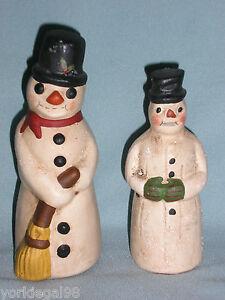 Walnut-Ridge-Collectibles-2-Primitive-Vintage-Style-Chalkware-Snowman-Figurines