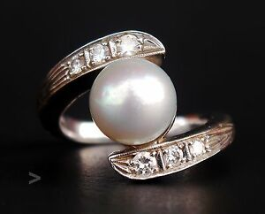 Have An Inquiring Mind Antique Danish Art Deco Ring Solid 14k W.gold Mabe Pearl Diamonds Ø 6.5us/8.3 With A Long Standing Reputation Art Nouveau/art Deco 1895-1935
