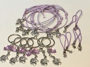 Unicorn-Party-Bag-Fillers-Friendship-Bracelets-Keyrings-amp-Phone-Cord-X18-PIECES