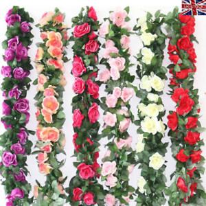2x 8ft Artificial Rose Garland Silk Flower Vine Ivy Wedding Garden