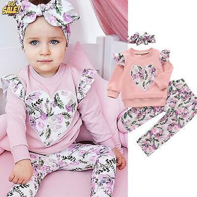 UK Kids Girls Gradient Ombre Clothes Jumper Tops Pants Outfits Toddler Tracksuit