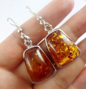 Piedras-preciosas-ambar-Hecho-a-Mano-Natural-Precioso-modernista-Joyas-Pendientes-R4