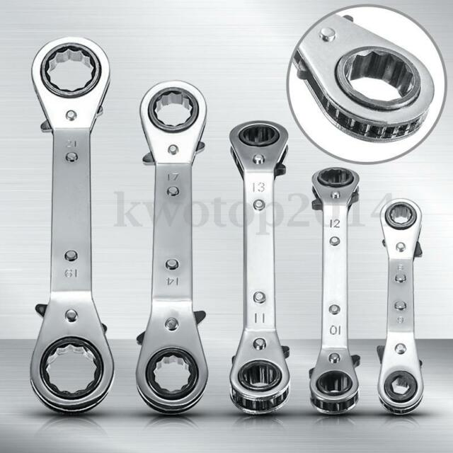 6-21mm Metric Offset Ring Wrench Spanner Ratchet Metric Hand DIY Tool Set 5 Size