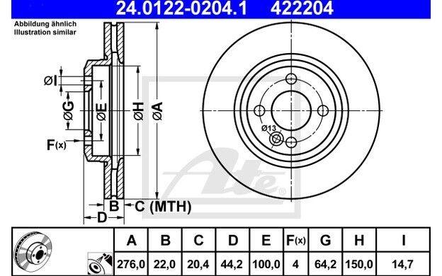ATE Juego de 2 discos freno 276mm ventilado para MINI 24.0122-0204.1