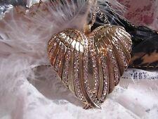 #JRJ9816  Wing Cross Necklace Pendant SET Western ANGEL BIKER GOLD RHINESTONE