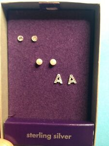 2cb01d4dd New Claire's Sterling Silver Initial Letter A Stud Ball Earrings Box ...
