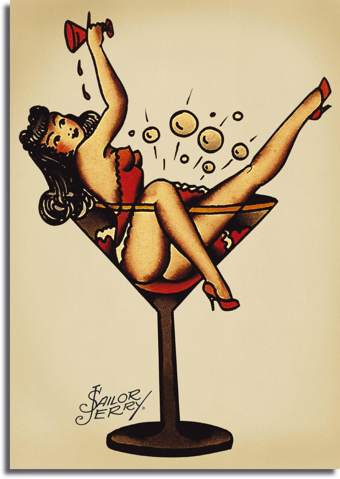 Sailor Jerry Pin Up Girl Tatto Vintage Giant CANVAS PRINT - A0 A1 A2 A3 A4 Größes
