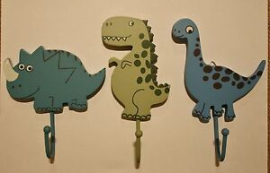 Set-of-3-Dinosaur-Hooks-T-Rex-Triceratops-Diplodocus-Childrens-Coat-Bedroom