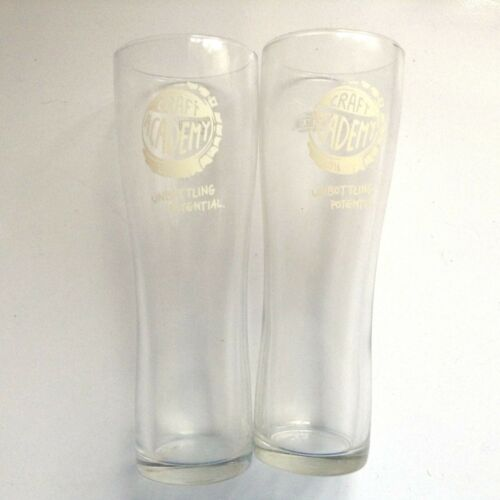 2x Pint Craft Academy 2016 pair Glass Set of 2 beer larger unbottling potential
