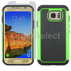 half off 0752a dc2a6 Details about Hybrid Rubber Case+LCD Screen Protector for Phone Samsung  Galaxy S7 Active Green
