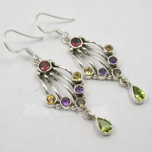 Mix-Stones-Jewelry-925-Solid-Silver-MULTI-COLOR-Ethnic-Style-Earrings-2-Inch