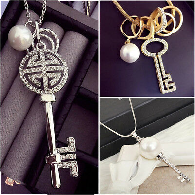 Pearl pendant long necklace silver gold UK seller