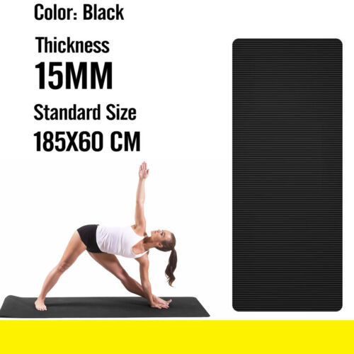 Yoga Mat Soft Foam 10mm Thick Gym Exercise Fitness Pilates Workout Mat Black