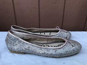 26bb35c0ec033 NEW Sam Edelman Felicia US 8M Ballet Flat Shoe Pink Silver Sparkle ...