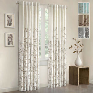 Floral Window Curtain Panel 84 Inch Rod Pocket Curtains