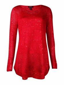 Alfani-Women-039-s-Sequined-Metallic-Sweater-M-Red-Amore